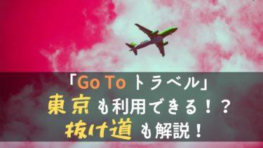 東京も「Go To トラベル」キャンペーンを利用できる?抜け道を徹底紹介